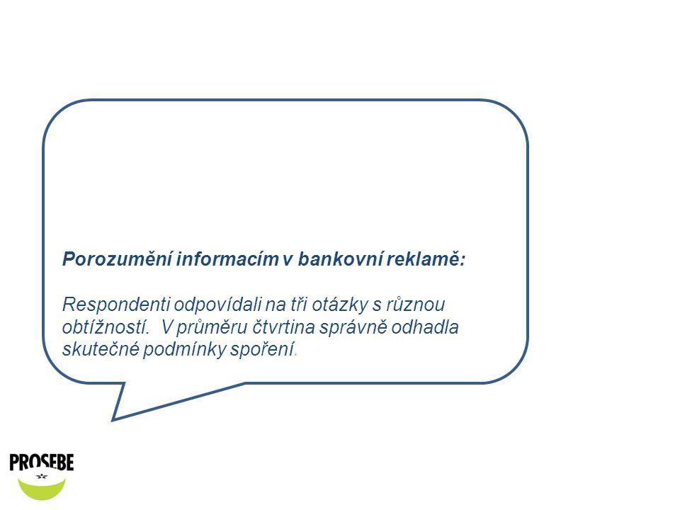 Porozumění informacím v bankovní reklamě: Respondenti odpovídali na tři otázky s různou obtížností.