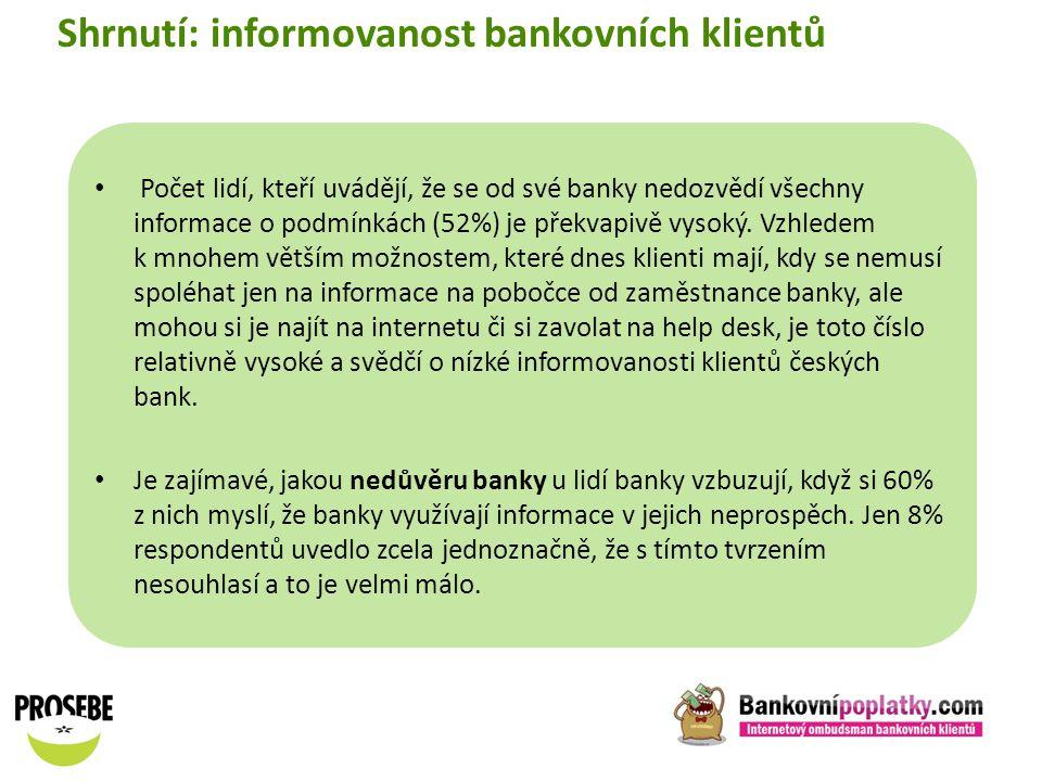 Shrnutí: informovanost bankovních klientů
