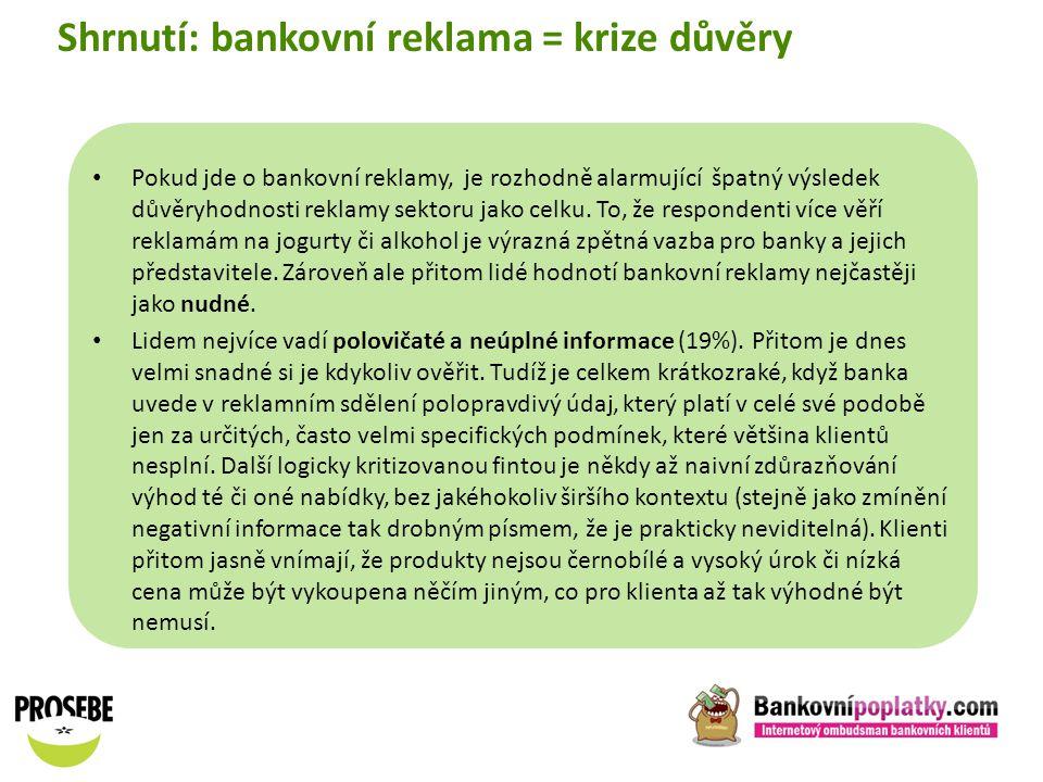 Shrnutí: bankovní reklama = krize důvěry