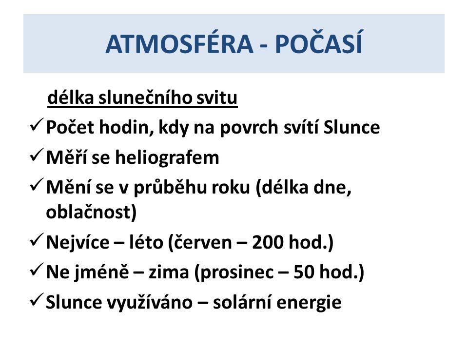 ATMOSFÉRA - POČASÍ délka slunečního svitu