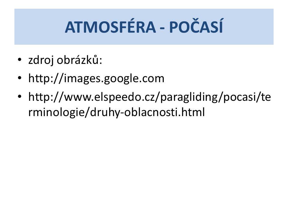 ATMOSFÉRA - POČASÍ zdroj obrázků: http://images.google.com