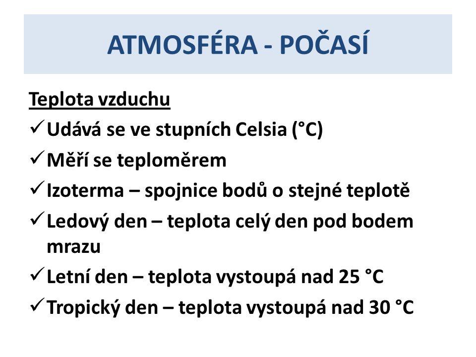 ATMOSFÉRA - POČASÍ Teplota vzduchu Udává se ve stupních Celsia (°C)