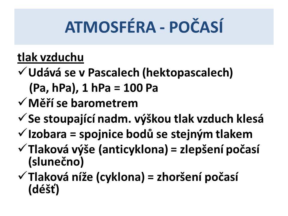 ATMOSFÉRA - POČASÍ tlak vzduchu Udává se v Pascalech (hektopascalech)