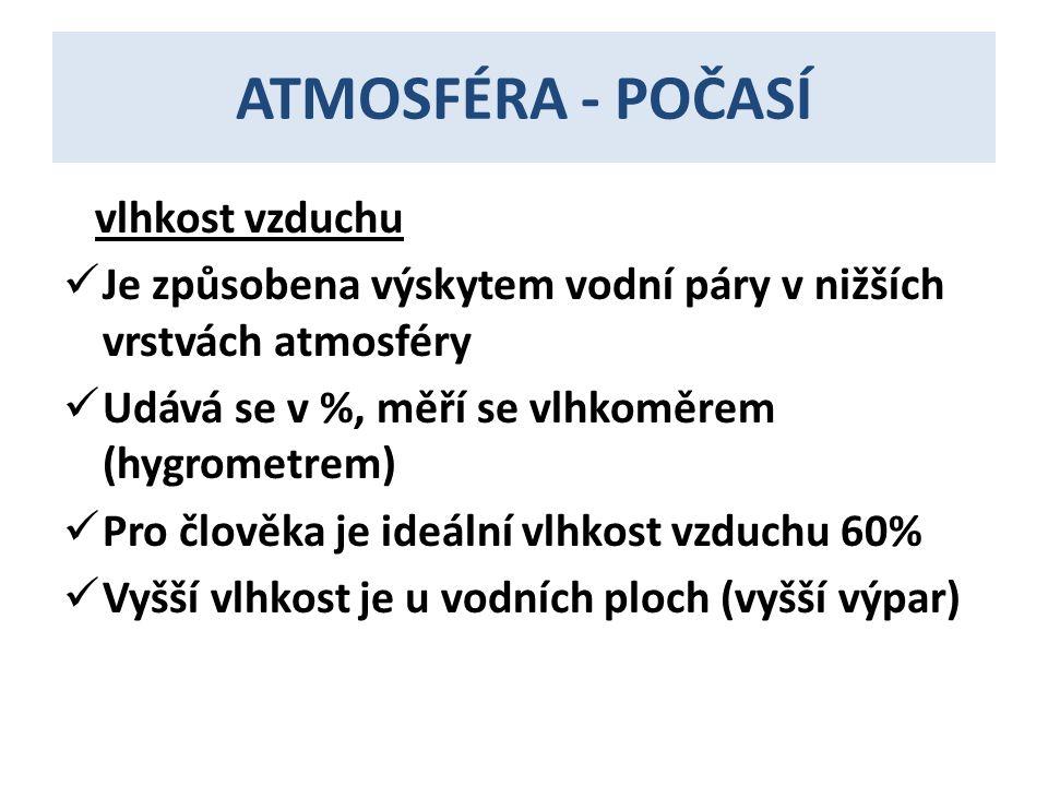 ATMOSFÉRA - POČASÍ vlhkost vzduchu