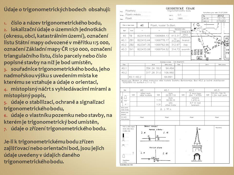 Údaje o trigonometrických bodech obsahují: