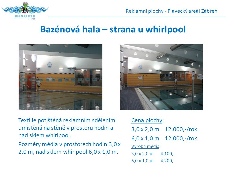 Bazénová hala – strana u whirlpool