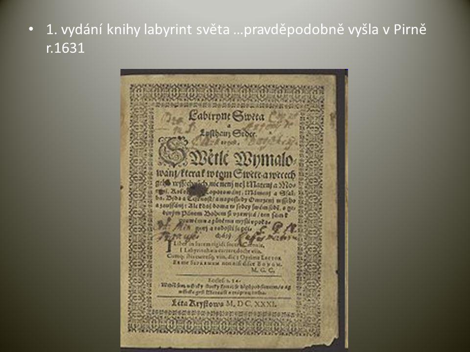 1. vydání knihy labyrint světa …pravděpodobně vyšla v Pirně r.1631
