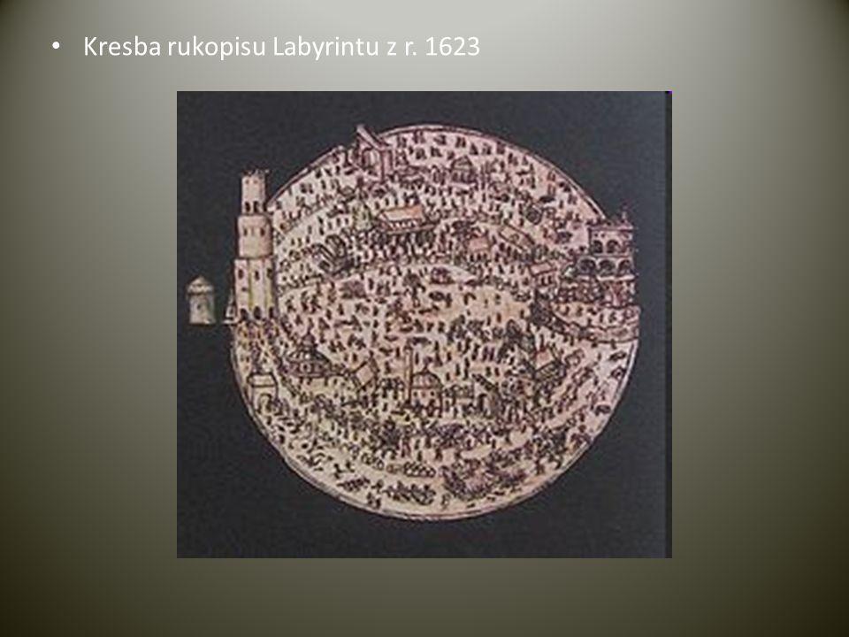 Kresba rukopisu Labyrintu z r. 1623