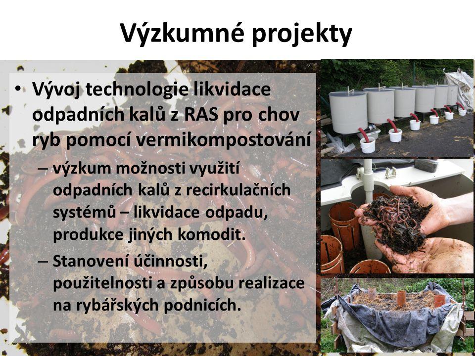Výzkumné projekty Vývoj technologie likvidace odpadních kalů z RAS pro chov ryb pomocí vermikompostování.