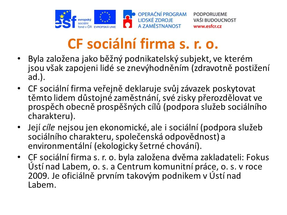 CF sociální firma s. r. o.
