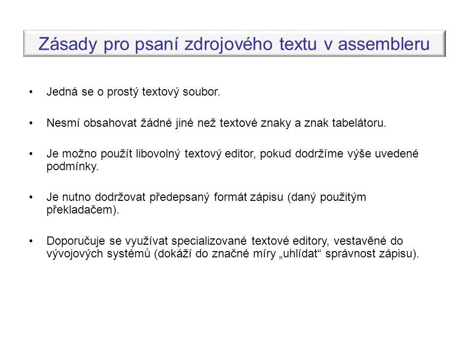 Zásady pro psaní zdrojového textu v assembleru