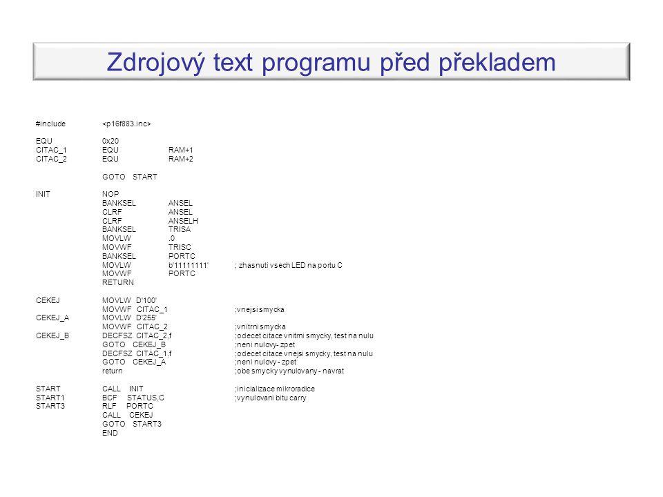 Zdrojový text programu před překladem