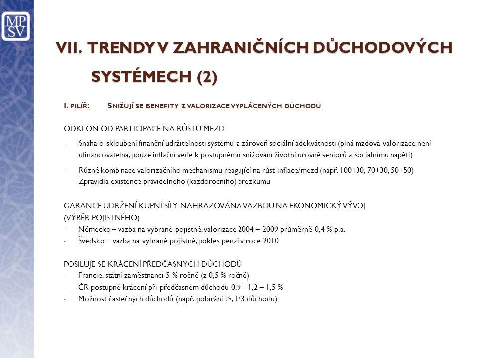 VII. TRENDY V ZAHRANIČNÍCH DŮCHODOVÝCH SYSTÉMECH (2)