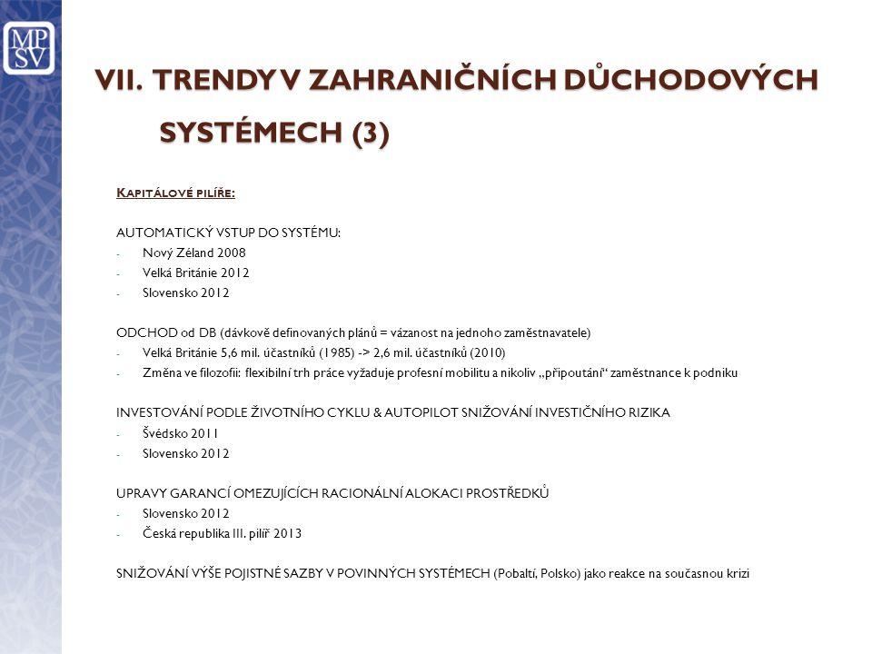 VII. TRENDY V ZAHRANIČNÍCH DŮCHODOVÝCH SYSTÉMECH (3)