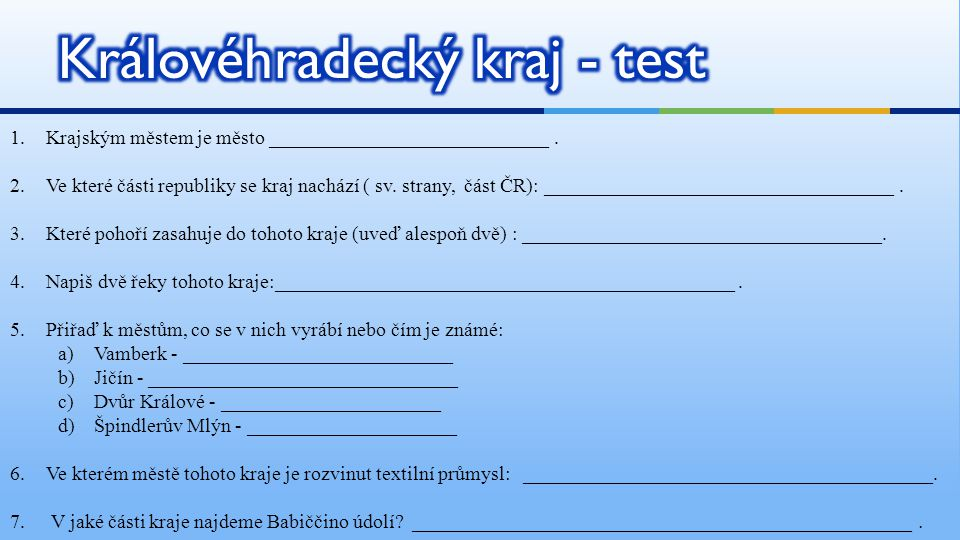 Královéhradecký kraj - test