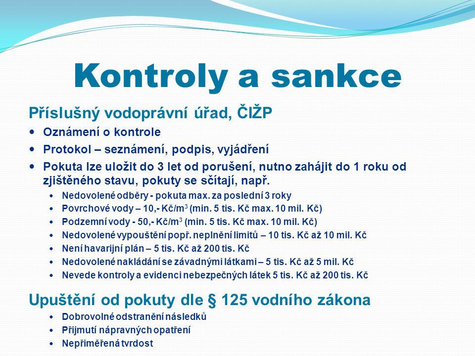 Kontroly a sankce Příslušný vodoprávní úřad, ČIŽP