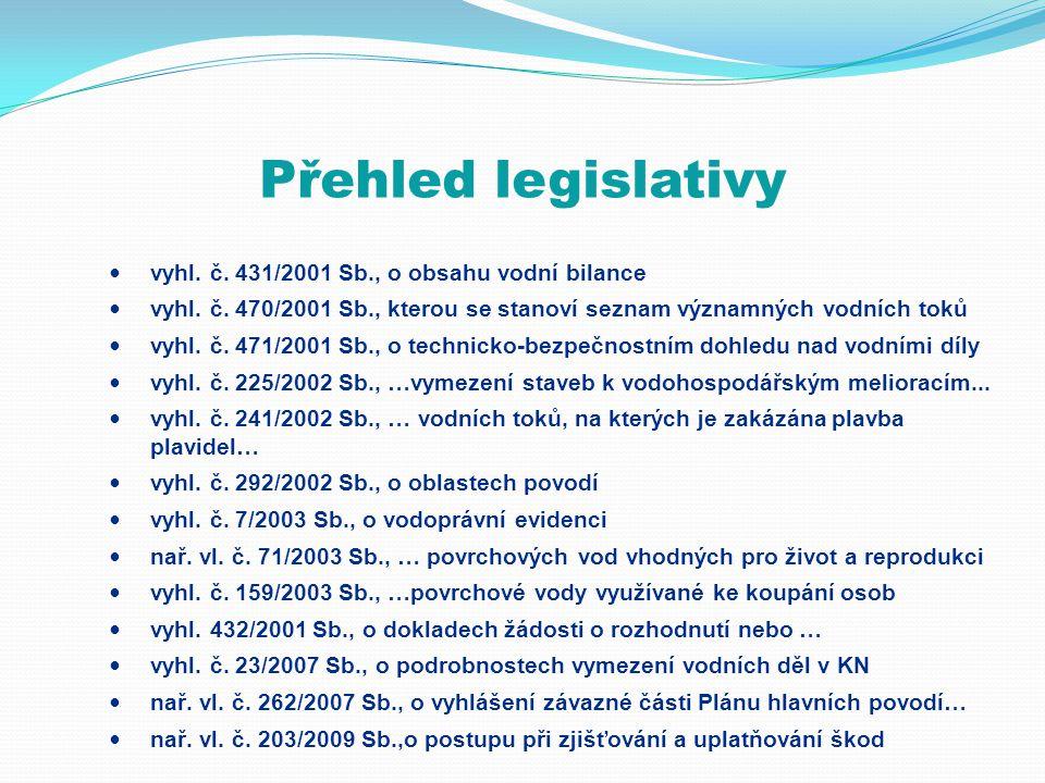 Přehled legislativy vyhl. č. 431/2001 Sb., o obsahu vodní bilance