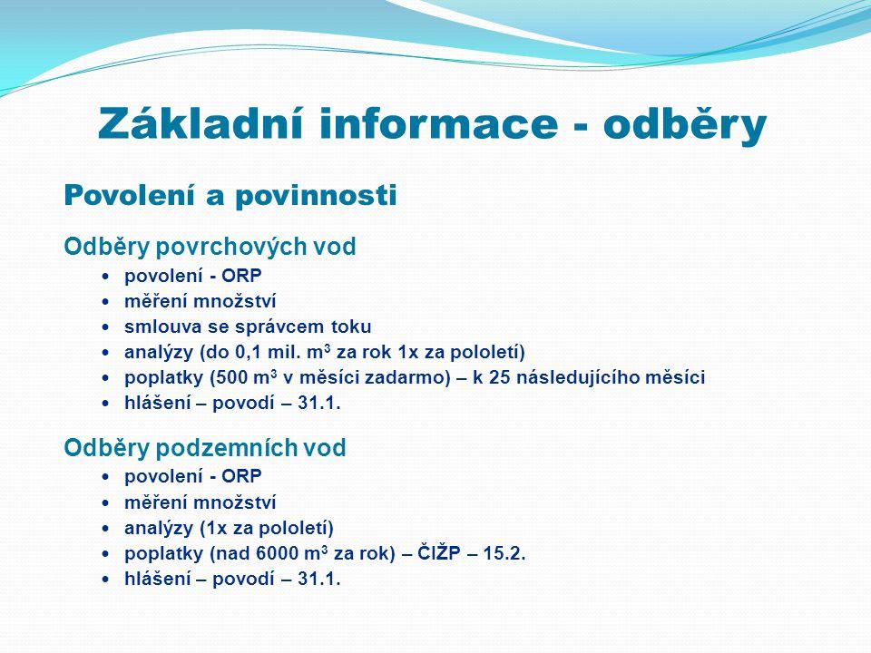 Základní informace - odběry