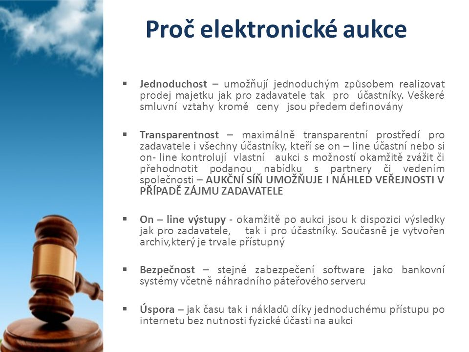 Proč elektronické aukce