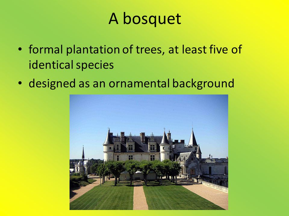 A bosquet formal plantation of trees, at least five of identical species.