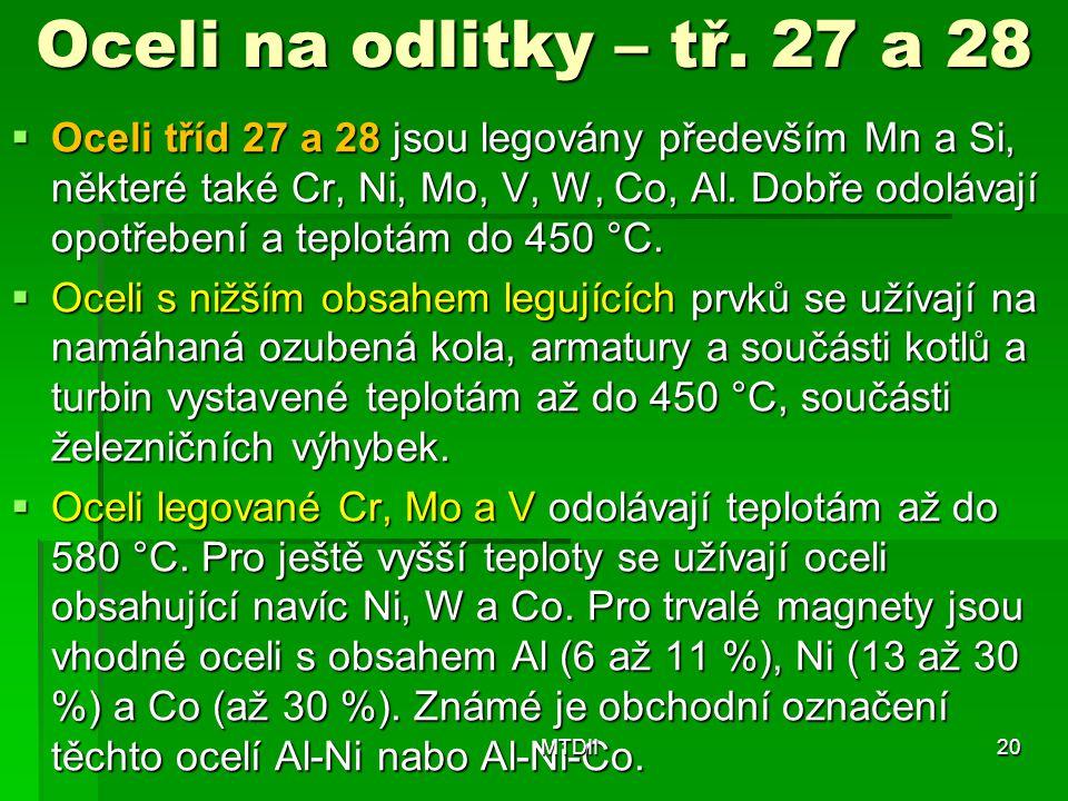 Oceli na odlitky – tř. 27 a 28
