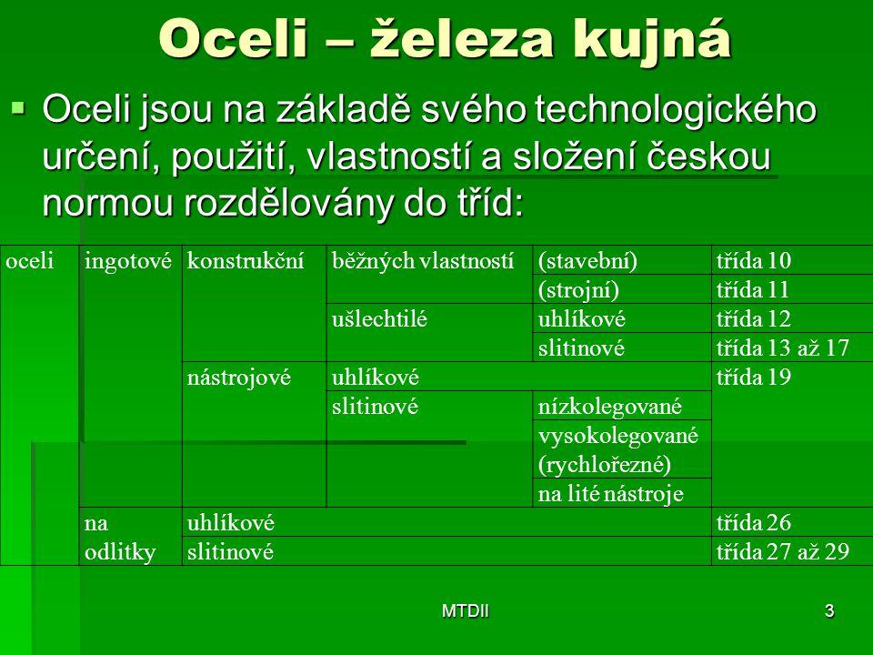 Oceli – železa kujná Oceli jsou na základě svého technologického určení, použití, vlastností a složení českou normou rozdělovány do tříd: