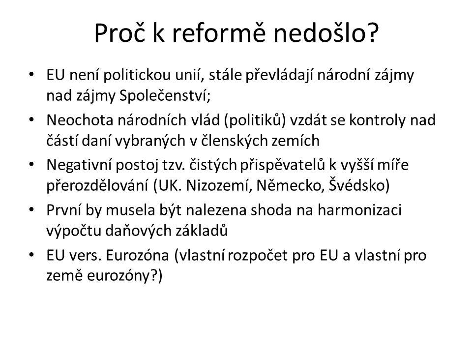 Proč k reformě nedošlo EU není politickou unií, stále převládají národní zájmy nad zájmy Společenství;