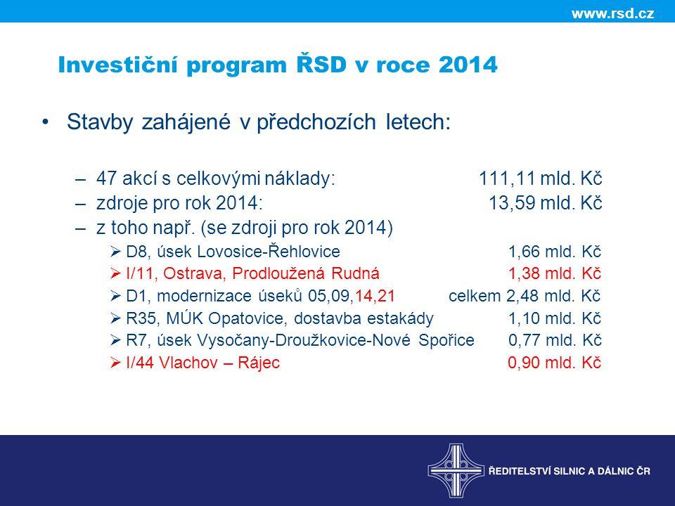 Investiční program ŘSD v roce 2014
