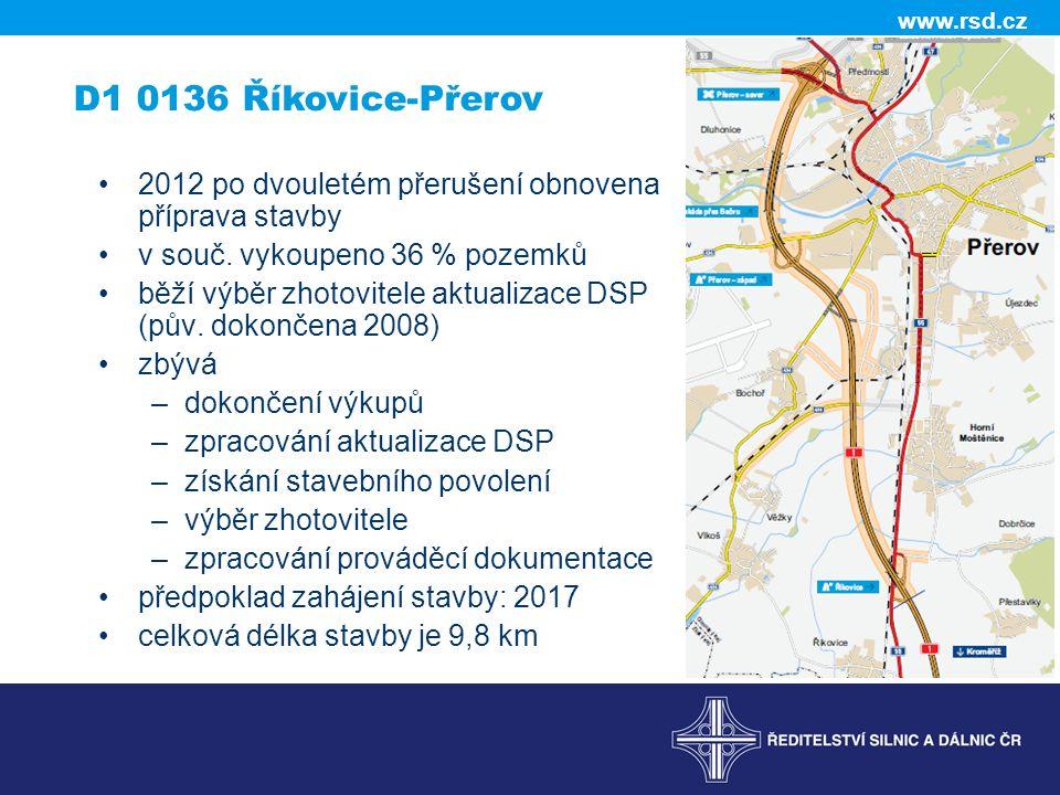 D1 0136 Říkovice-Přerov 2012 po dvouletém přerušení obnovena příprava stavby. v souč. vykoupeno 36 % pozemků.