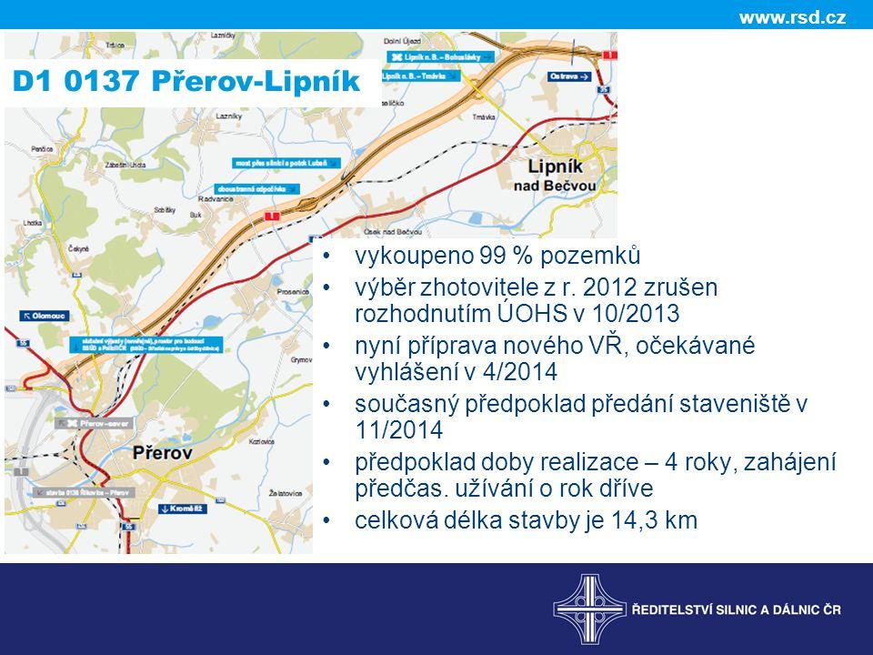 D1 0137 Přerov-Lipník vykoupeno 99 % pozemků