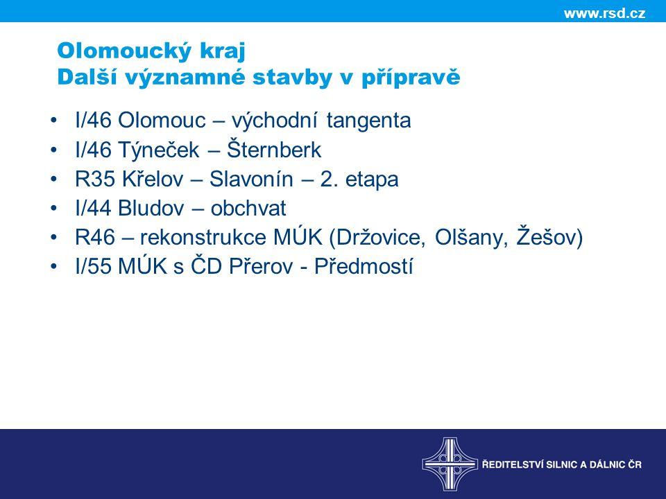 Olomoucký kraj Další významné stavby v přípravě