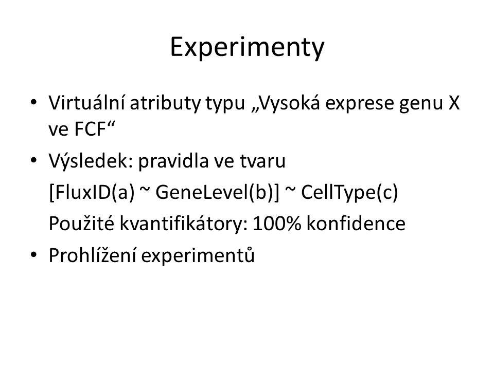 """Experimenty Virtuální atributy typu """"Vysoká exprese genu X ve FCF"""