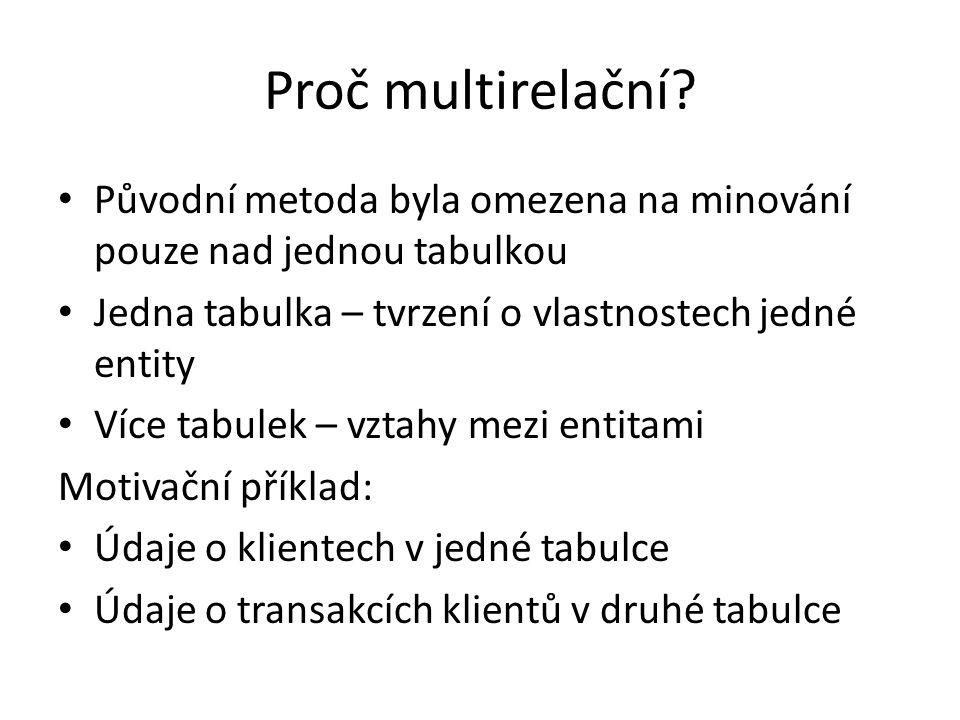 Proč multirelační Původní metoda byla omezena na minování pouze nad jednou tabulkou. Jedna tabulka – tvrzení o vlastnostech jedné entity.
