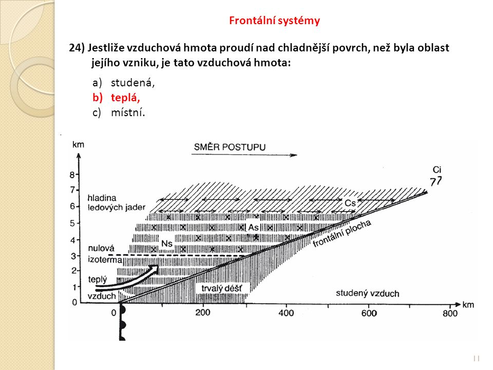 Frontální systémy 24) Jestliže vzduchová hmota proudí nad chladnější povrch, než byla oblast. jejího vzniku, je tato vzduchová hmota: