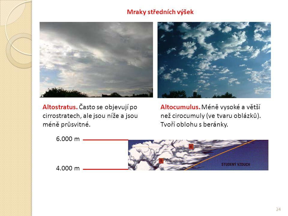 Mraky středních výšek Altostratus. Často se objevují po cirrostratech, ale jsou níže a jsou méně průsvitné.