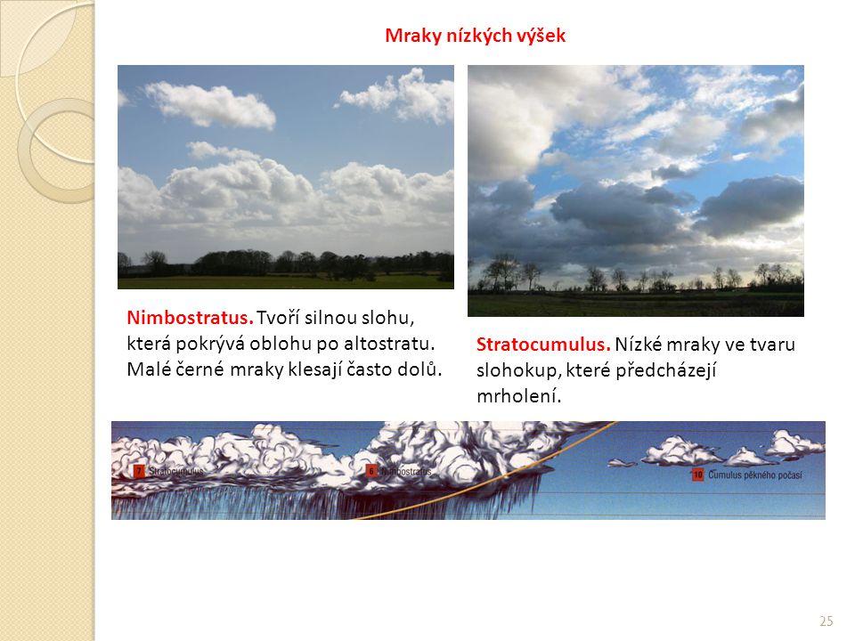 Mraky nízkých výšek Nimbostratus. Tvoří silnou slohu, která pokrývá oblohu po altostratu. Malé černé mraky klesají často dolů.
