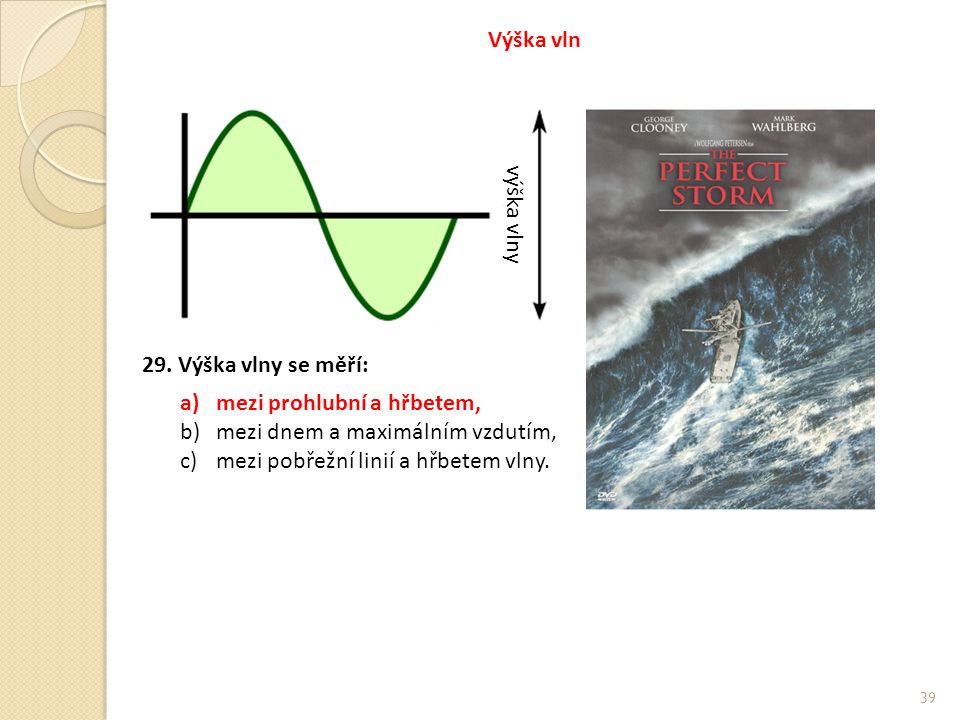 Výška vln výška vlny. 29. Výška vlny se měří: mezi prohlubní a hřbetem, mezi dnem a maximálním vzdutím,