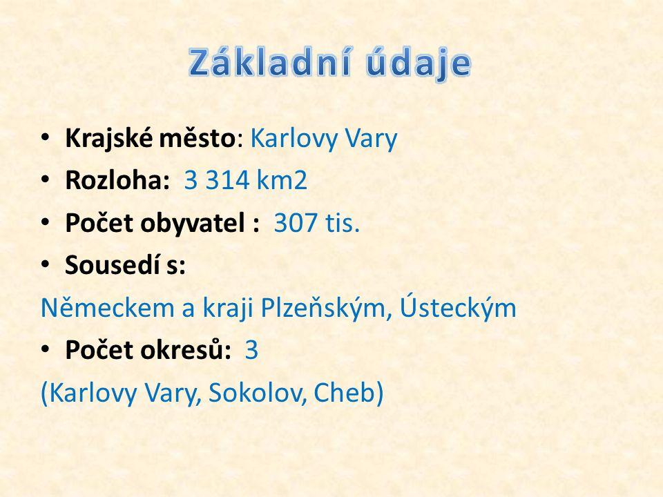 Základní údaje Krajské město: Karlovy Vary Rozloha: 3 314 km2