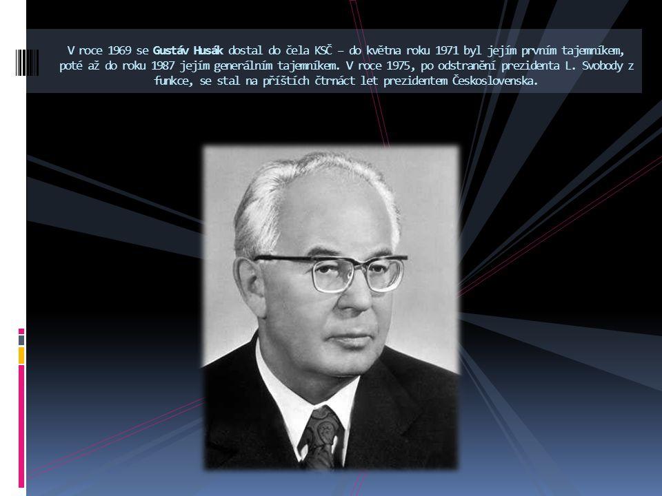 V roce 1969 se Gustáv Husák dostal do čela KSČ – do května roku 1971 byl jejím prvním tajemníkem, poté až do roku 1987 jejím generálním tajemníkem.