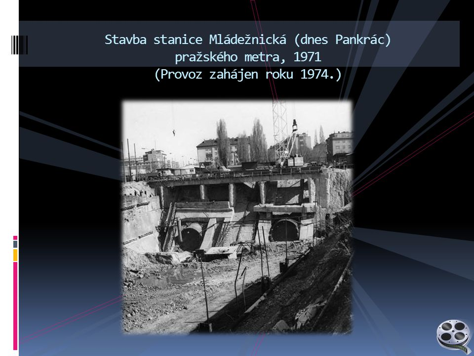 Stavba stanice Mládežnická (dnes Pankrác) pražského metra, 1971 (Provoz zahájen roku 1974.)