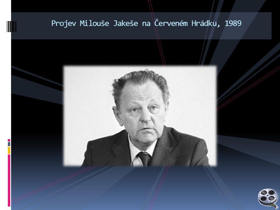 Projev Milouše Jakeše na Červeném Hrádku, 1989
