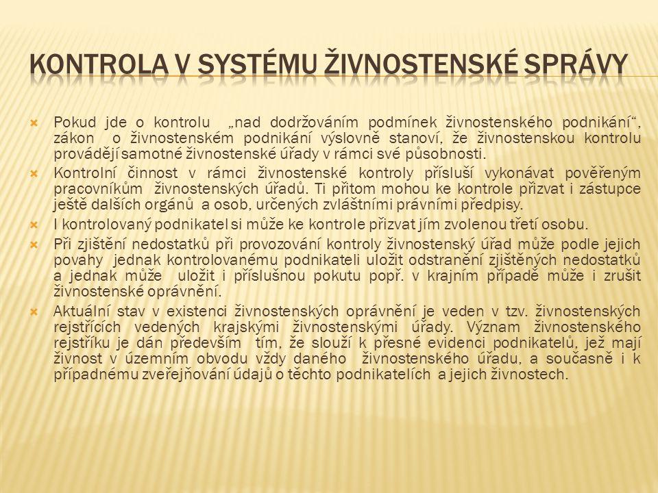 Kontrola v systému živnostenské správy