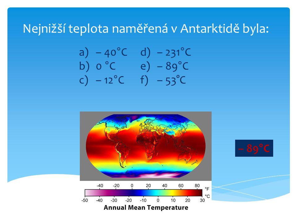 Nejnižší teplota naměřená v Antarktidě byla: