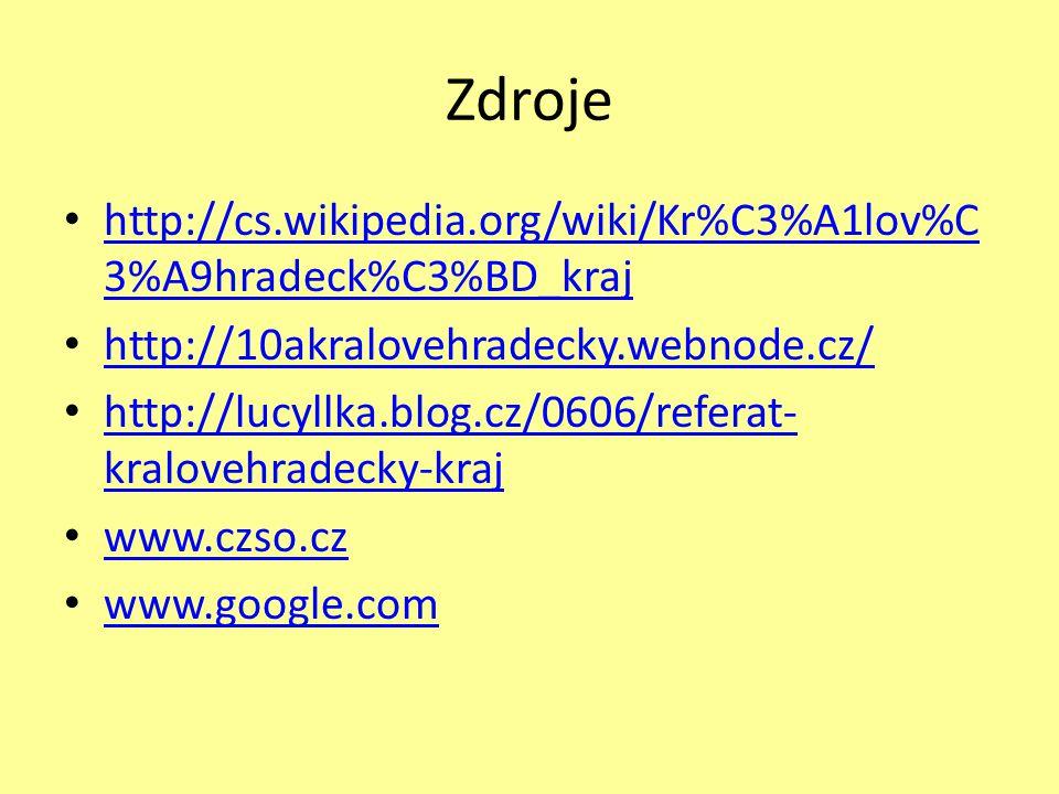 Zdroje http://cs.wikipedia.org/wiki/Kr%C3%A1lov%C3%A9hradeck%C3%BD_kraj. http://10akralovehradecky.webnode.cz/
