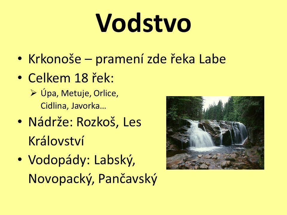 Vodstvo Krkonoše – pramení zde řeka Labe Celkem 18 řek: