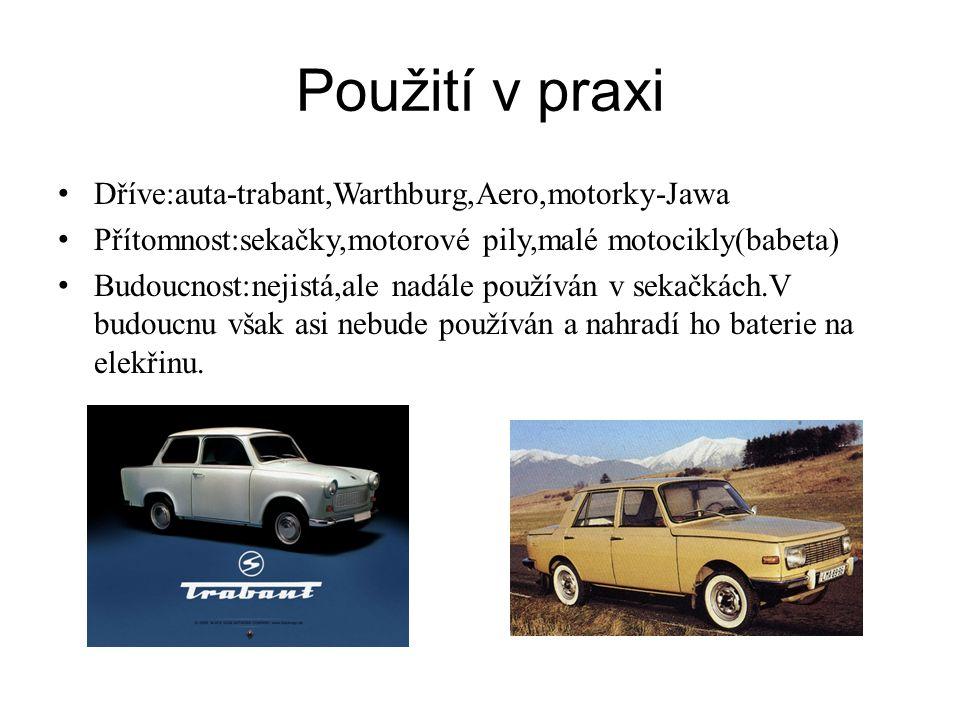 Použití v praxi Dříve:auta-trabant,Warthburg,Aero,motorky-Jawa