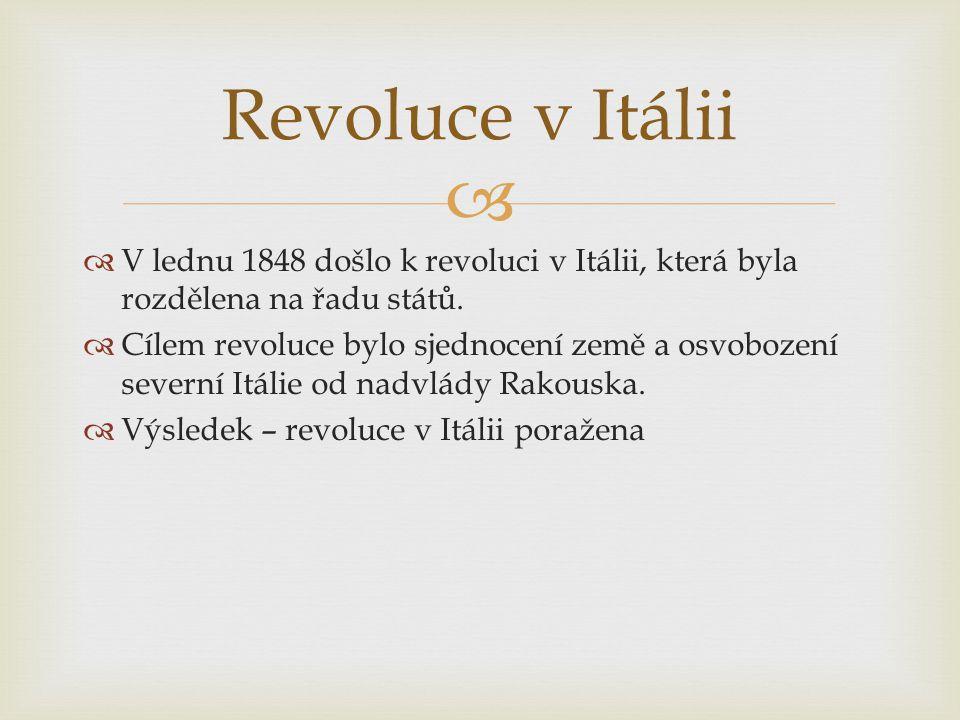 Revoluce v Itálii V lednu 1848 došlo k revoluci v Itálii, která byla rozdělena na řadu států.
