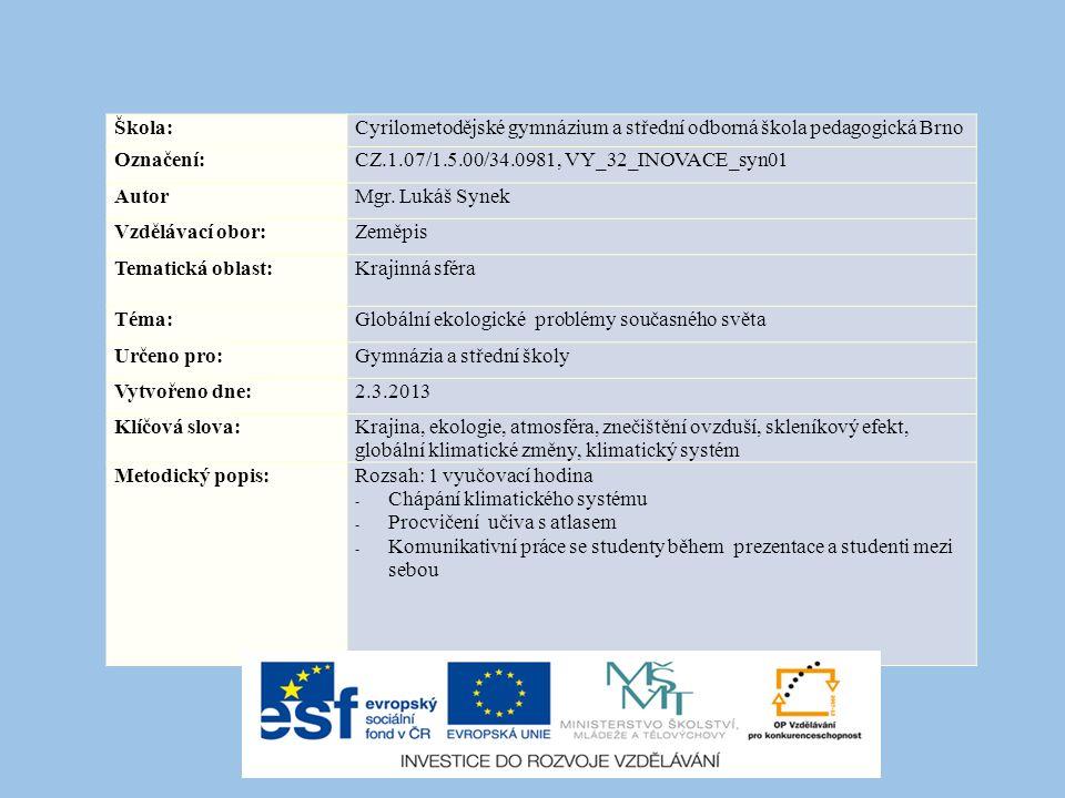 Škola: Cyrilometodějské gymnázium a střední odborná škola pedagogická Brno. Označení: CZ.1.07/1.5.00/34.0981, VY_32_INOVACE_syn01.