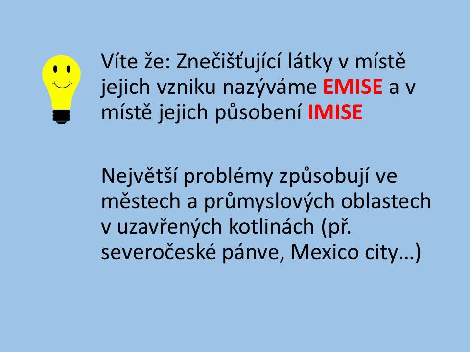 Víte že: Znečišťující látky v místě jejich vzniku nazýváme EMISE a v místě jejich působení IMISE Největší problémy způsobují ve městech a průmyslových oblastech v uzavřených kotlinách (př.