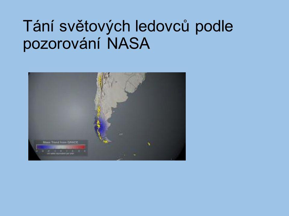 Tání světových ledovců podle pozorování NASA